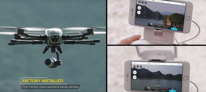 PowerEye 空拍機具雙鏡頭設計,可將航拍和 FPV 畫面分流圖傳至兩部不同的手機。