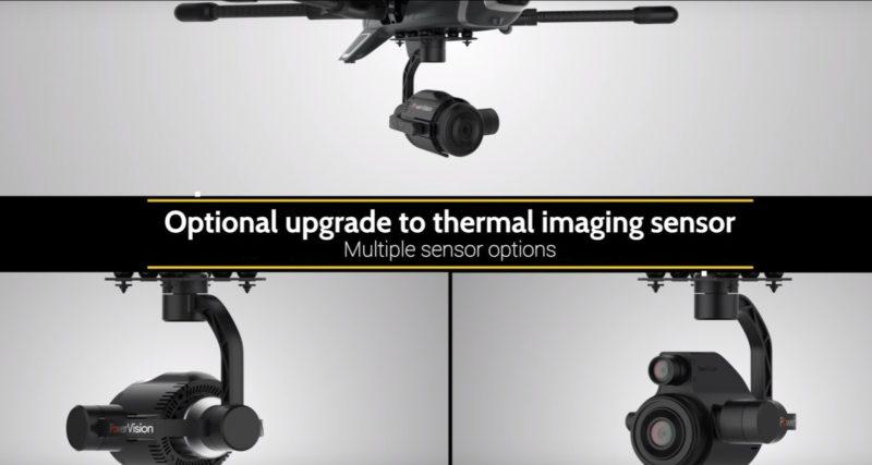 PowerEye 空拍機可裝配熱能或自然光感測裝置,以捕捉肉眼看不到的光譜。