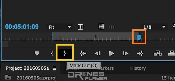 Step 08. 重複地利用藍色的小指針,拉至希望影片結束的時間,然後按下「}」 (Mark Out) 按鈕,代表 Mark Out 時間後的影片都不要了。