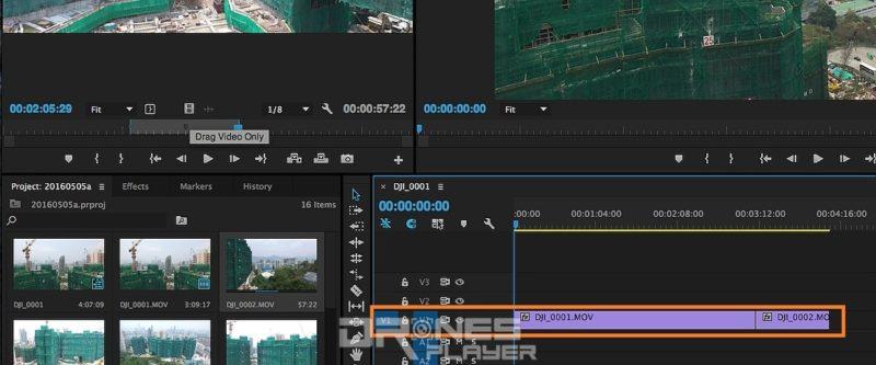 Step 11. 重複 Step 06 至 08 動作進行修剪,如果影片包含聲音,可利用 [Drag Video Only] 影片圖案的按鈕,匯入航拍影片時會自動去除聲音部分。例如利用GoPro Hero 運動相機進行航拍,所收錄的聲音大都沒有用途的雜音,可以悉數刪掉。然後,把影片排列至 V1 軌道。