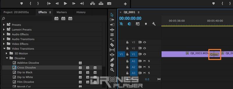 Step 12. 利用 [Effects] 介面內的 Video Transitions → Dissolve → Cross Dissolve 拖拉至兩個影片的中間位置,那便是最常見的交錯淡化過場效果。跟著,按一下中間的 [Cross] 過場效果圖示。