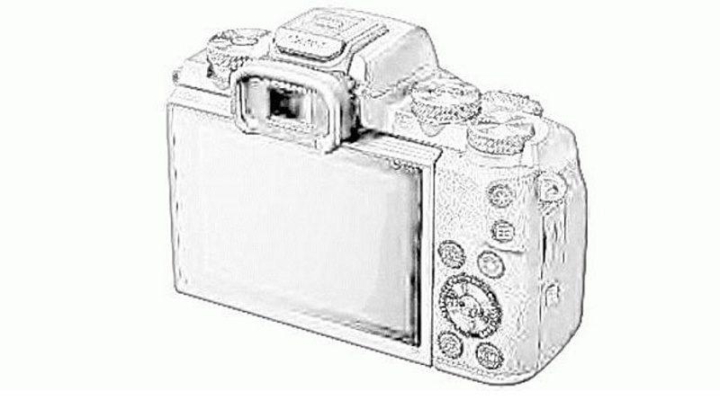疑似 Canon EOS M5 機身背面的設計草圖。
