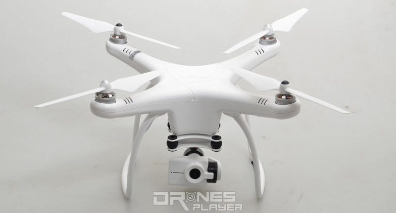 GTEN ONE 4K 空拍機採用傳統的 X 形四旋翼結構,白色機身。