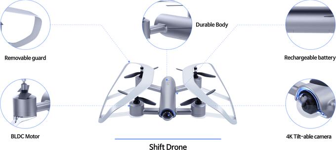 Shift 無人機的機首設有可上下俯仰的 4K 航拍鏡頭。