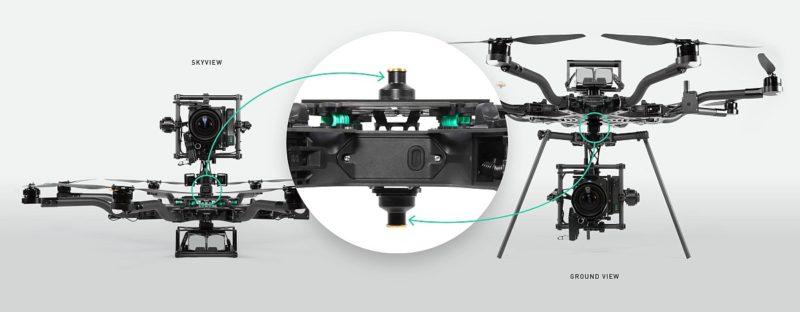 Freefly ALTA 8 無人機採用快折設計,以便將攝影機快速上下倒置,節省裝嵌時間。