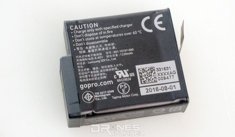 HERO 5 Black 所用電池跟 HERO 4 系列外觀設計相同。