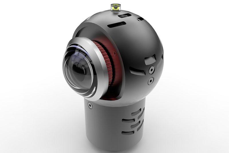 Indiecam nakedEYE 採用球形機身設計,前後各配備一支魚眼鏡頭,頂部亦設有水平珠。