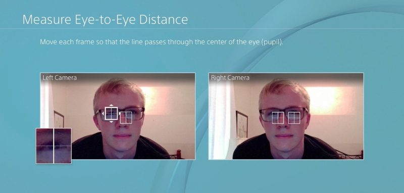 用戶摘下 PS VR 後,將面部移至畫面中的圖框中,並平視前方,按下X鍵拍攝一張相片;跟著畫面會出現兩個可藉由搖桿操控的正方形框,用戶只要把正方形的十字中心對準至瞳孔中央便成了。