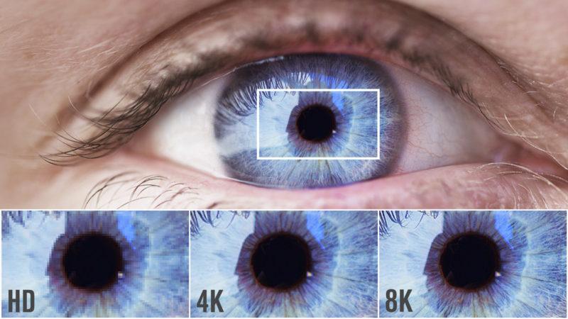 由 RED 官方提供的高清、4K 與 8K 畫質比較