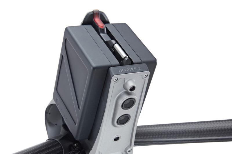 DJI Inspire 2 機身底部有雙目視覺系統和超聲波感知系統。