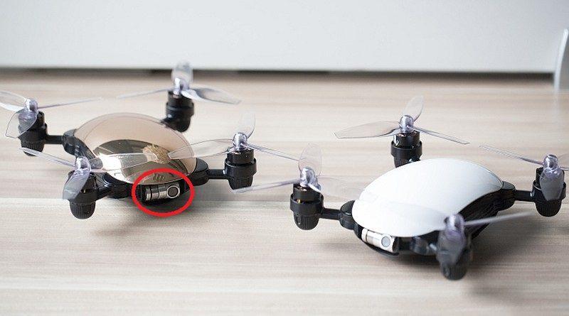 J.ME 無人機備有白色和香檳金色兩款;如細心察看,便可發現機首設有機械雲台(紅圈)。