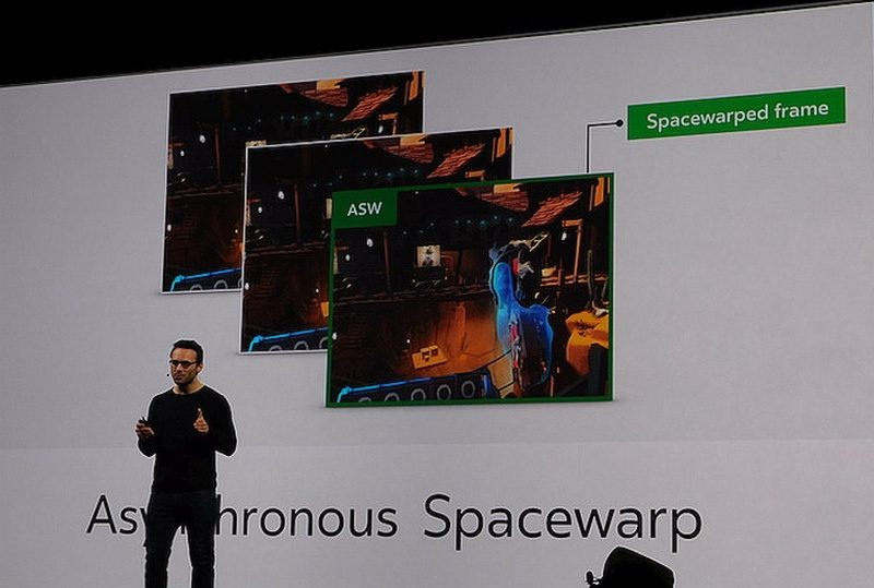 Oculus 執行長 Brendan Iribe 在Oculus Connect 3 大會上發表 Oculus Rift 所用的 Asynchronous Spacewarp 技術。