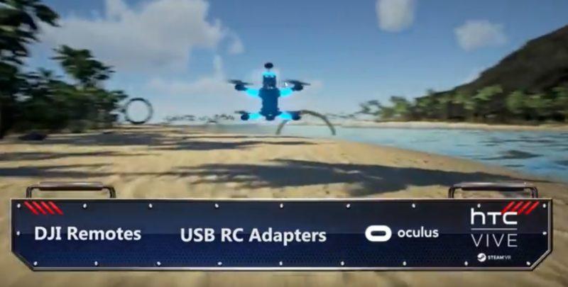 《Icarus Drone Flight》用戶可使用 DJI 遙控器,搭配 Oculus Rift 或 HTC Vive,進行虛擬實境式 FPV 穿越飛行。