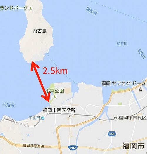NTT DoCoMo 無人機從日本九州本島起飛,橫跨 2.5 公里的海峽,抵達福岡市的能古島。