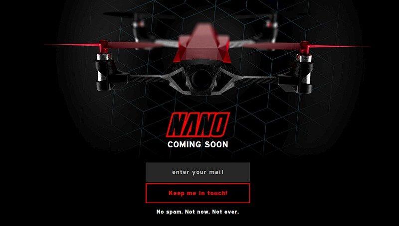 Nano-Racing 官網暫時未披露任何 Nano 無人機資料,只標示了「Coming Soon(即將來臨)」字眼。