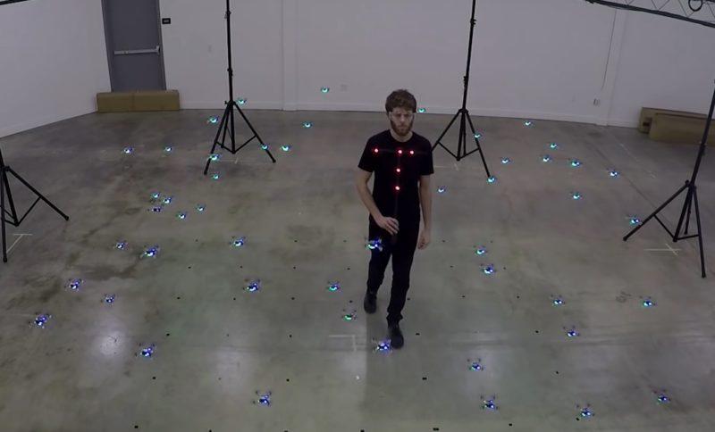 研究人員走進無人機群中,它們便會自動同步散開。