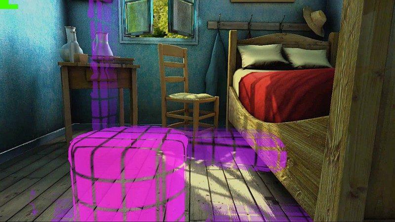透過 Bridge VR 眼鏡內建的位置追蹤系統,當用戶遇上障礙物和牆壁時,便會出現網狀的畫面提示用家。
