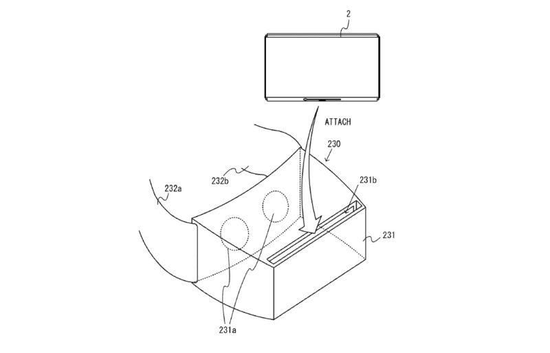 從專利圖中可見,疑似是任天堂 Switch 的裝置能夠放進 VR 眼鏡,變成頭戴式顯示裝置