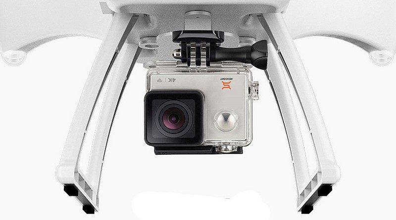 Xeno Sky 無人機附帶一部自家的運動相機,雖然可拍攝4K影片,但從圖片中所見似乎沒有機械雲台作配套,畫面穩定性存疑。