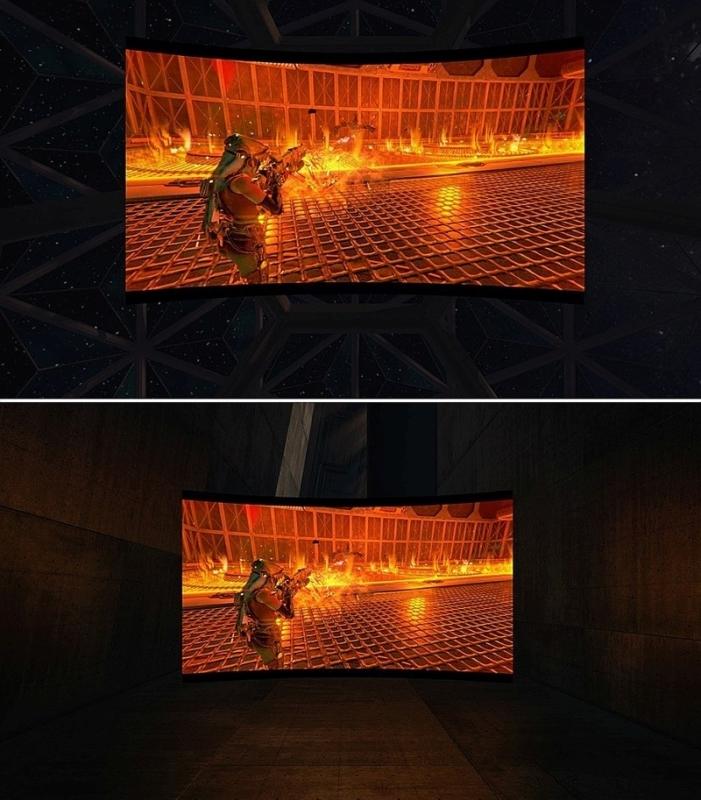 Oculus Rift 顯示的 Xbox One 遊戲畫面,備有兩款不同畫面尺寸可供選擇,惟官方沒提及顯示畫面的實際大小。