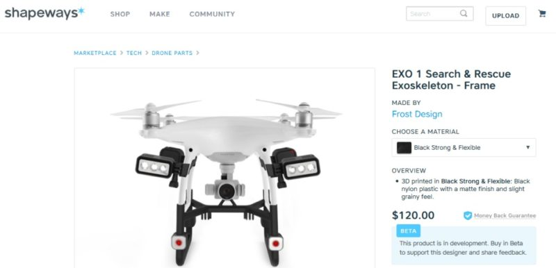 Shapeways 網站現正發售 EXO 1 支架,售價為 120 美元。