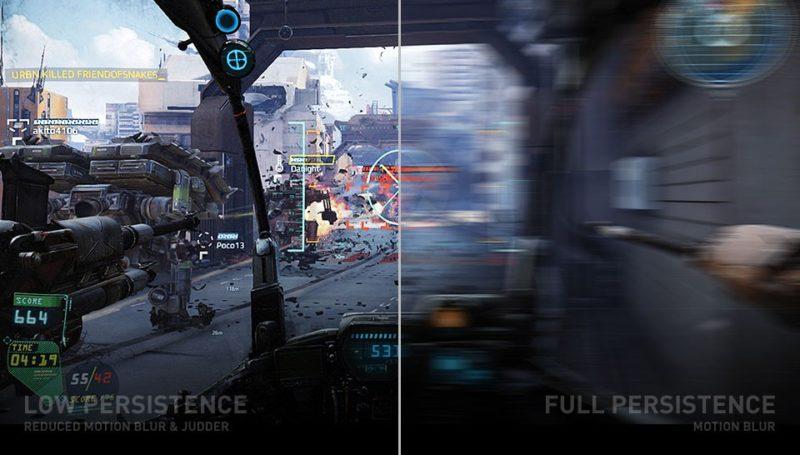 建基於 Pimax 8K VR 眼鏡擁有高解析度,畫面的低持續性(左)可有效減少動態模糊。