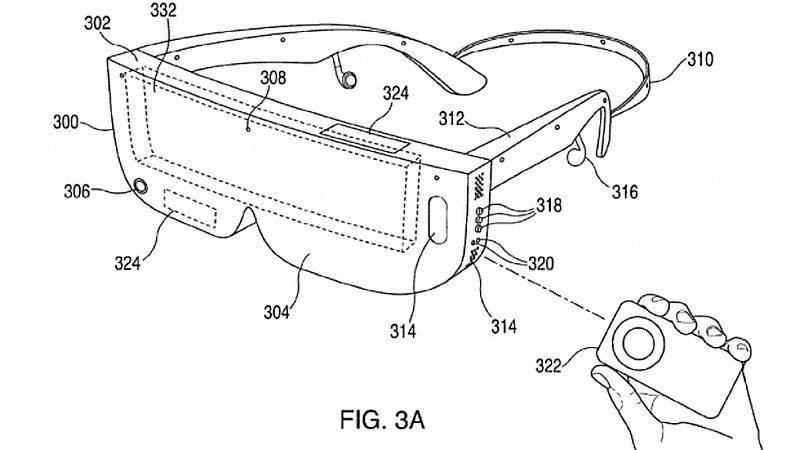 從最新流出的 Apple 頭顯專利設計圖可見,頭顯裝置可通過手持控制器進行操作;該控制器的外形設計跟 iPod 遙控器有幾相似。