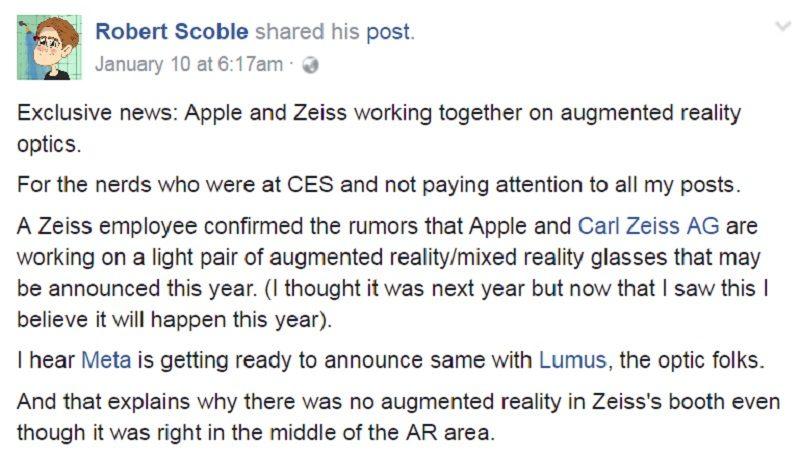 外國資深科技博客 Robert Scoble 在 Facebook 爆料指,Apple 與 Carl Zeiss 合作研發 AR/MR 眼鏡,預計有機會今年內發表。
