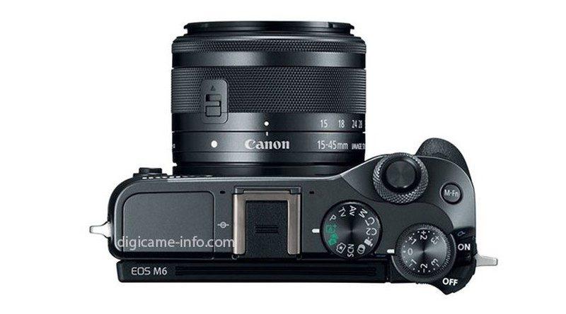 Canon EOS M6 的機頂設有閃燈熱靴、模式轉盤、曝光補償轉盤及快速轉盤。