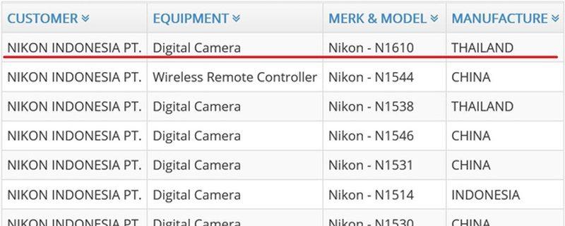 Nikon 於 2016 年 12 月曾在印尼註冊了兩台新機,其中代號 N1610 的型號註明會於泰國生產 。