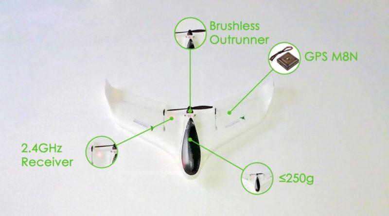 Tsubasa V3 太陽能無人機的結構跟一般固定翼無人機大致相同,機尾設有旋翼來提供推動力。