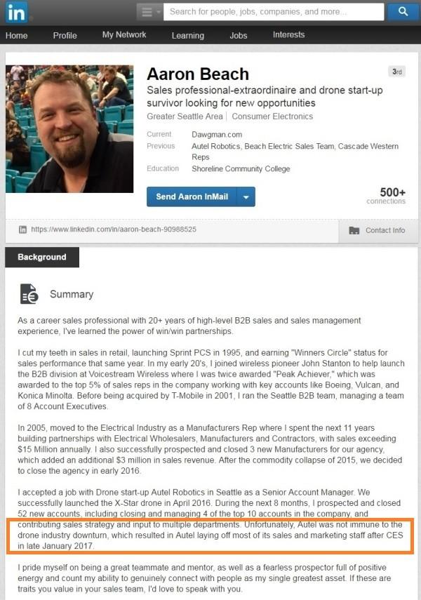 Autel Robotics 美國西雅圖高級銷售經理 Aaron Beach 在 LinkedIn 帳戶上聲稱,該公司在 CES 2017 後解僱銷售及市場部門人員。