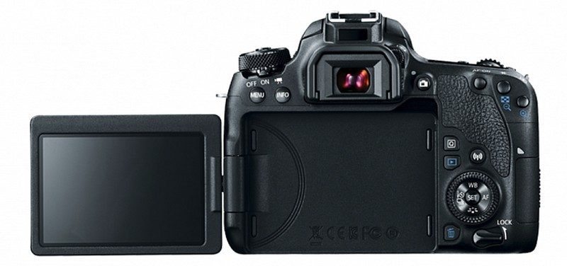Canon EOS 77D 機身背面設有 3 吋可翻轉觸控屏幕。