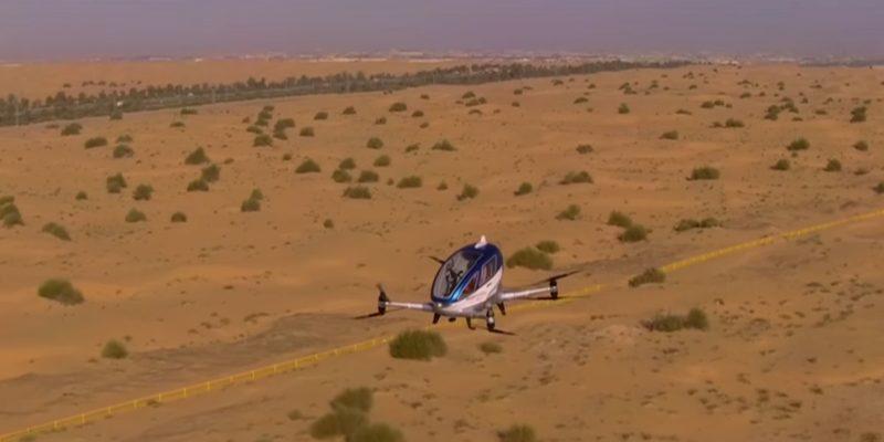 據悉 Ehang 184 不但在杜拜的展覽上亮相,更已在當地空域試飛。