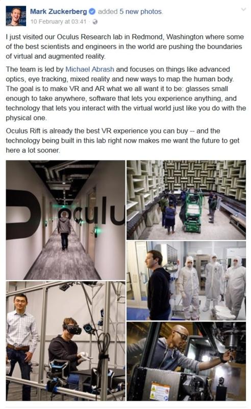 Mark Zuckerberg 於 2017 年 2 月 10 日在其 Facebook 專頁,上傳了 5 張參觀 Oculus 研究實驗室的相片。