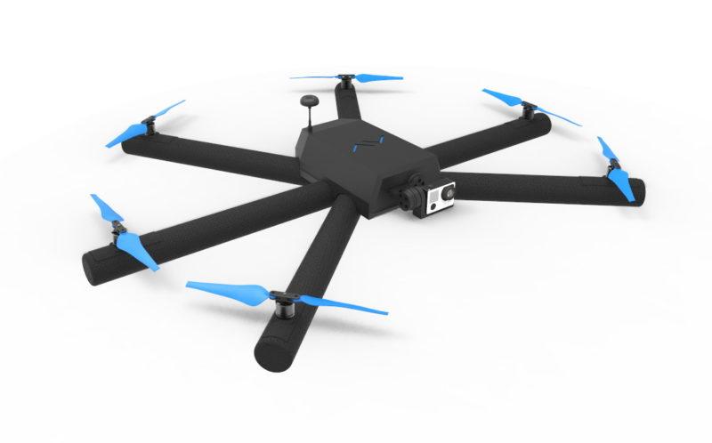 有別於一般無人機機身全以塑膠之類聚合物製造,Airvada DIODON 的機臂起飛前需由用家自行充氣。