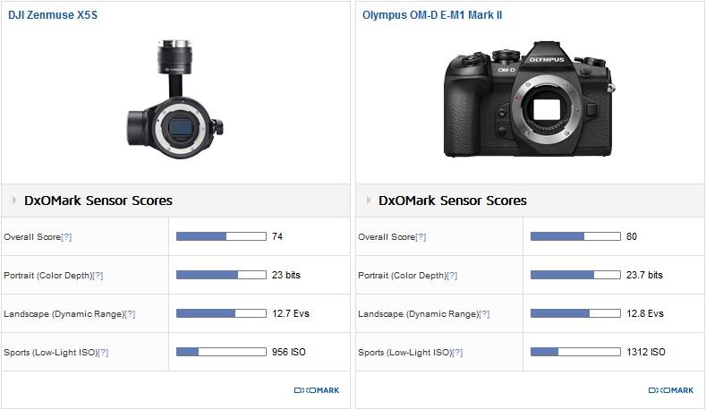 DJI Zenmuse X5S vs Olympus OM-D E-M1 Mark II