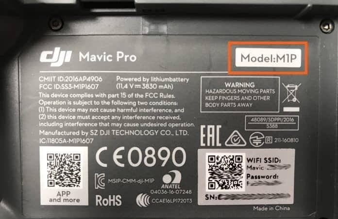 Mavic Pro 的型號名稱是「M1P」。