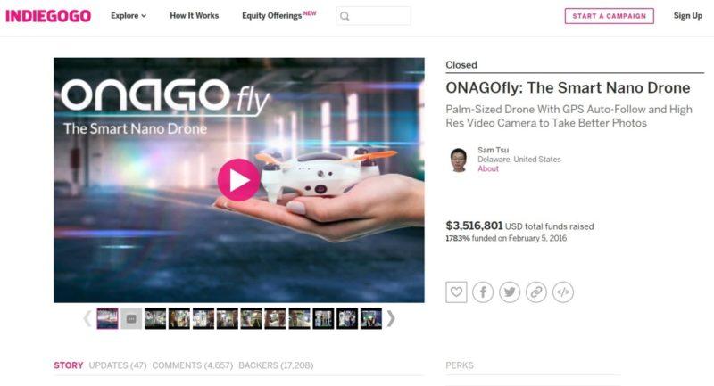 ONAGOfly 自拍無人機曾在 Indiegogo 上進行眾籌,結果成功募集逾 350 萬美元資金。