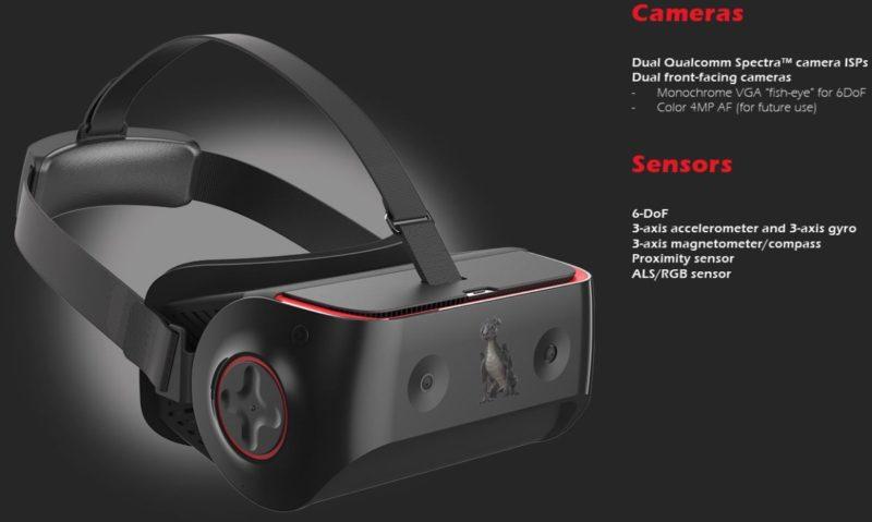 Qualcomm VRDK 頭顯除前方裝設視覺感知鏡頭外,還內建陀螺儀、加速度計、電子羅盤等各式感測器。