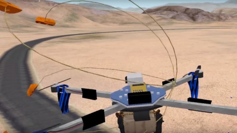 Skynet Net Gun 張開的繩網命中目標後,即會纏上無人機旋翼,令機體失速墜下。