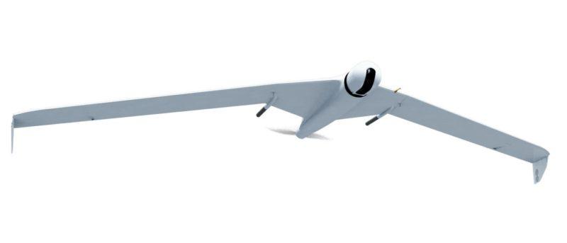 採固定翼設計的 ZALA 421-16E2 無人機,內建 60 倍光學變焦航拍相機及 10 倍光學變焦熱成像相機,可用作遠程偵察。