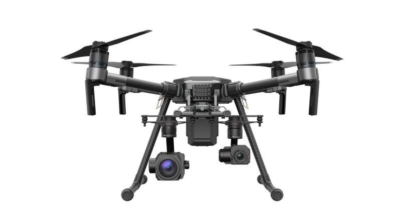 DJI Matrice 系列中的 M210 可同時裝上多組雲台系統,以裝配不同類型的相機或拍攝裝置。