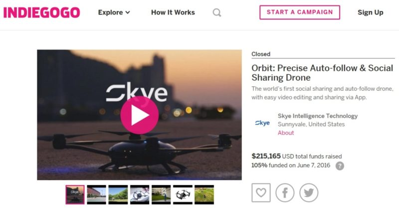 在 KickStarter 群募成功後,Orbit 無人機再進駐 Indiegogo 進行眾籌,募集逾 21 萬美元資金。