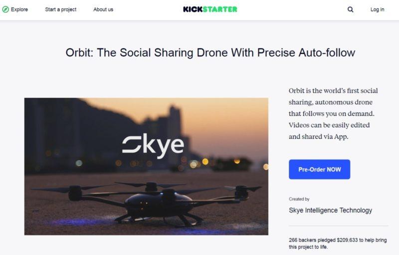 Orbit 無人機首先在 KickStarter 進行群募,集資逾 20 萬美元。