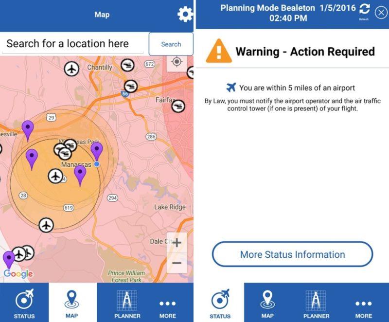 《B4UFLY》手機 APP 可讓飛友查閱無人機禁飛區的位置及相關詳情。