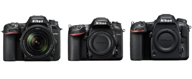 (由左至右)Nikon D7500、D7200、D500 的機身正面比較