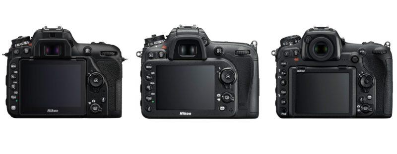 (由左至右)Nikon D7500、D7200、D500 的機身背面介面布局比較。