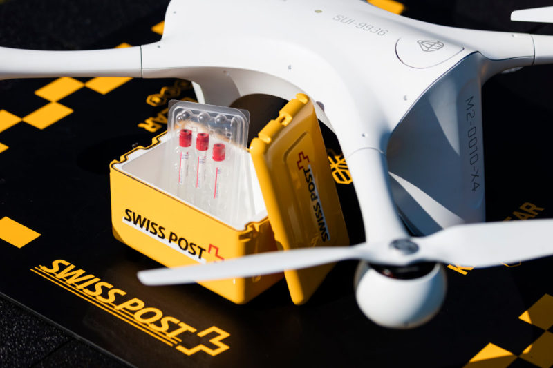 瑞士郵政試飛送貨無人機 - 運載實驗樣本