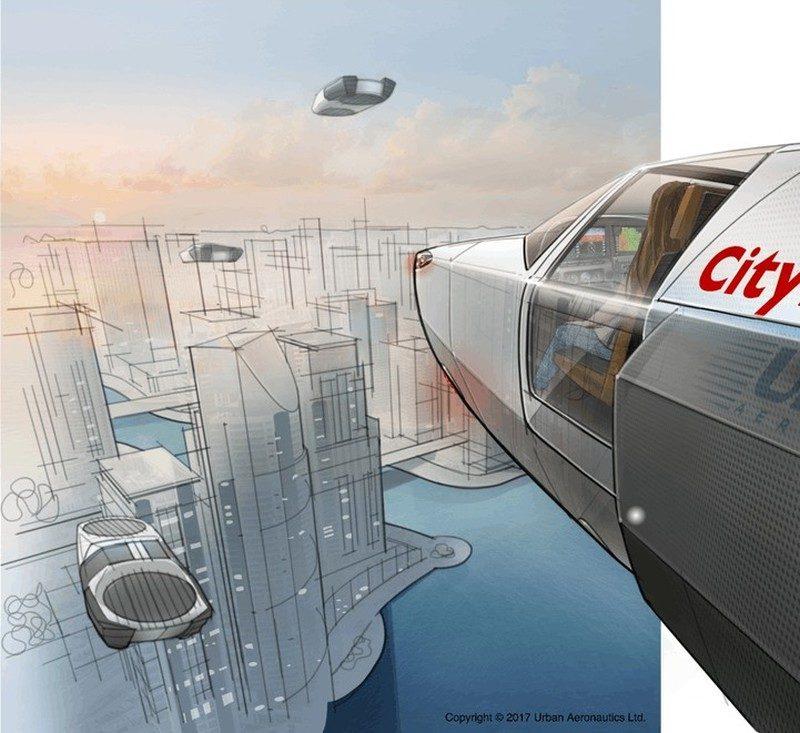 多架 CityHawk 飛天汽車在城市上空飛行的模擬圖。